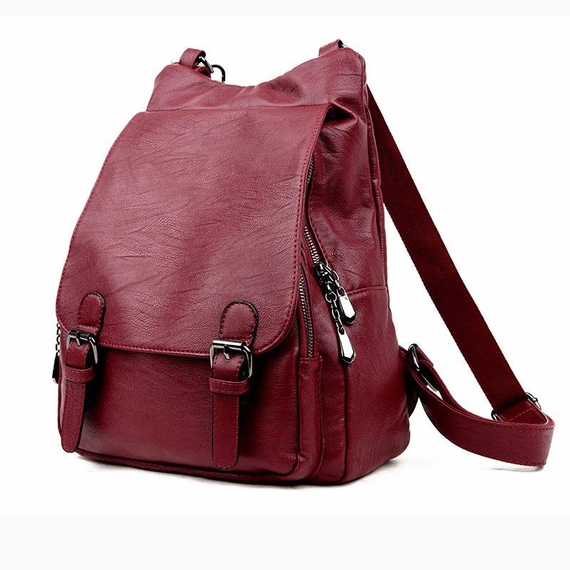 Hot 2019 New Style Solid Color Pu Leather Woman's Backpack Casual Girl's School Bag Multi-function Laptop Bag Exquisite Backpack Y19061204