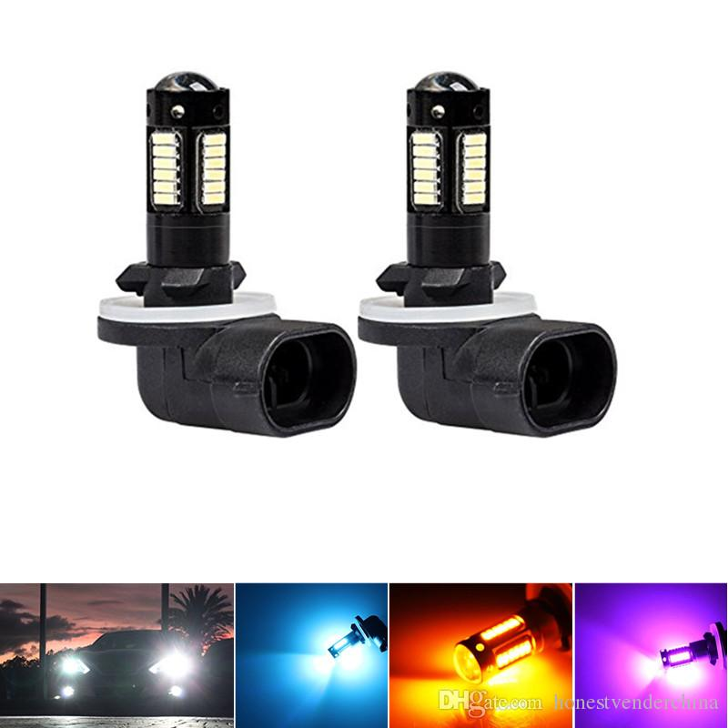 2pc High Power 6500K White 30-SMD 4014 881 889 H27 LED Replacement Bulbs For Car Fog Lights,ca DRL Lamps,12V Car led,yellow/Red