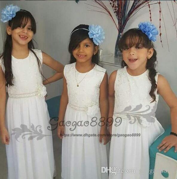 Sweety Flower Girl Dresses Zipper sans manches dentelle perlée Appliques avec fleur Sash 2019 étage longueur mousseline de soie pas cher filles pageant robes