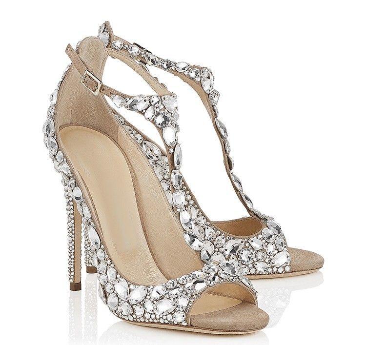 Venta caliente-lujo zapatos de boda de diamante Jeweled Heel Gladiador sandalias mujeres Rhinestone Crystal embellecido T Correa zapatos de fiesta de verano