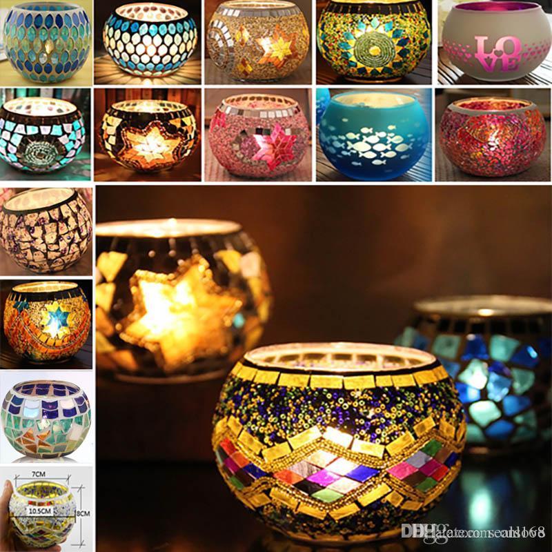 Fiesta de la boda de la palmatoria de cristal del mosaico Prop boda de la barra sostenedor de vela de la decoración del hogar Linterna regalos de Navidad no con la vela de 18 diseños TY7-271