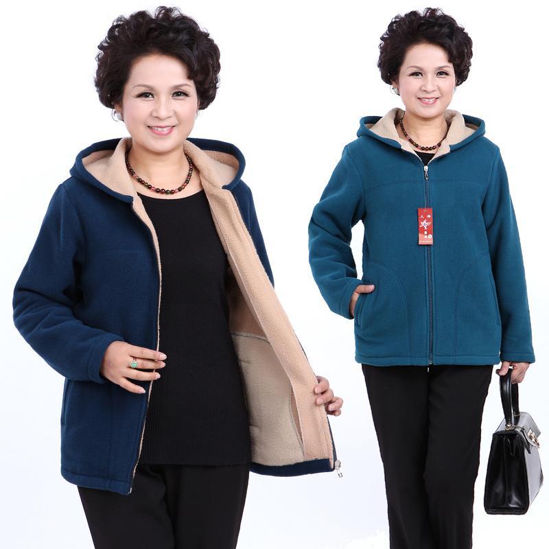 Invierno de mediana edad para mujer con capucha imitación corderos chaqueta de lana señoras caliente suave Velevt abrigo madre abrigos más tamaño Outwear 1