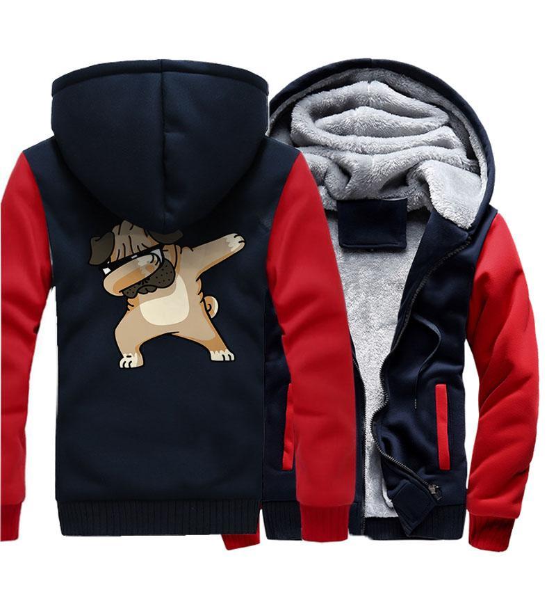 남성 운동복 두꺼운 코트 가을 겨울 라글란 슬리브 파우더 2018 Hot Streetwear Dabbing Pug 힙합 Dog Men 's Hoodies