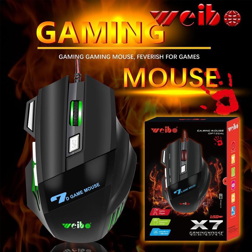 7D Esports Gaming Mouse glühendes Wired Maus Computer-Maus Spiel Zubehör Verwendbar für Laptop-Desktop-PC