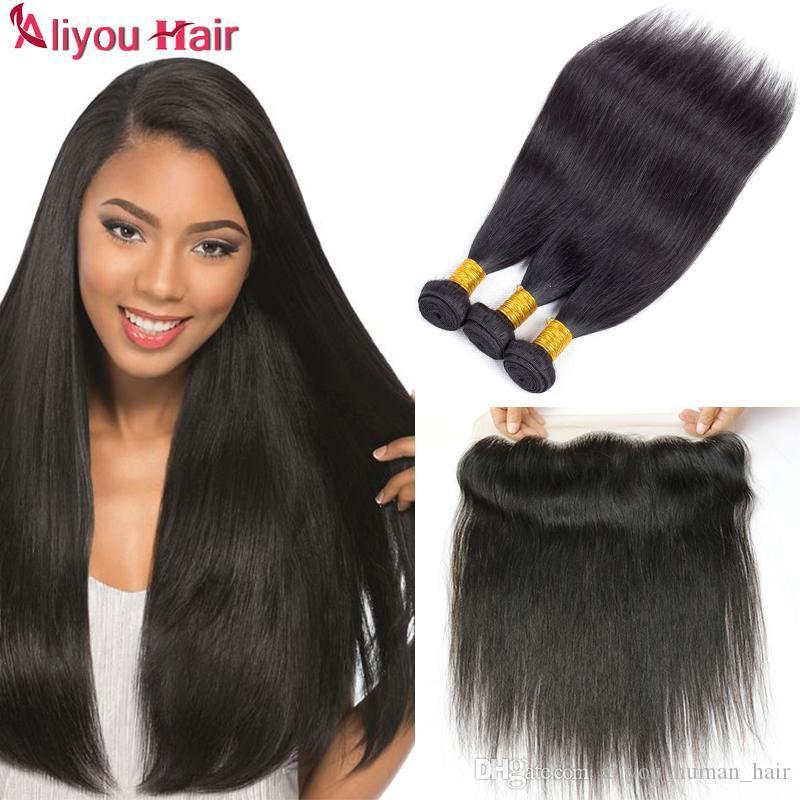 Девственные прямые перуанские утки волос с 13x4 кружевными фронтальными закрытиями бразильский малайзийский Индийский пучок человеческих волос прямые волосы с закрытием