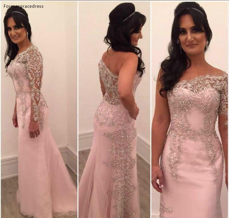 Tasarımcı Bir Omuz Anne Gelin Elbiseler Kristaller Boncuk Örgün Godluk Akşam Düğün Parti Misafirleri Kıyafeti Artı Boyutu