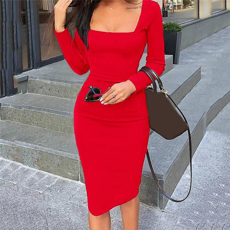 Autumn Women Dresses Casual Solid Color Women Long-sleeved Dress Sexy Female Lady Bodycon Dress Fashion Square Collar Vestido