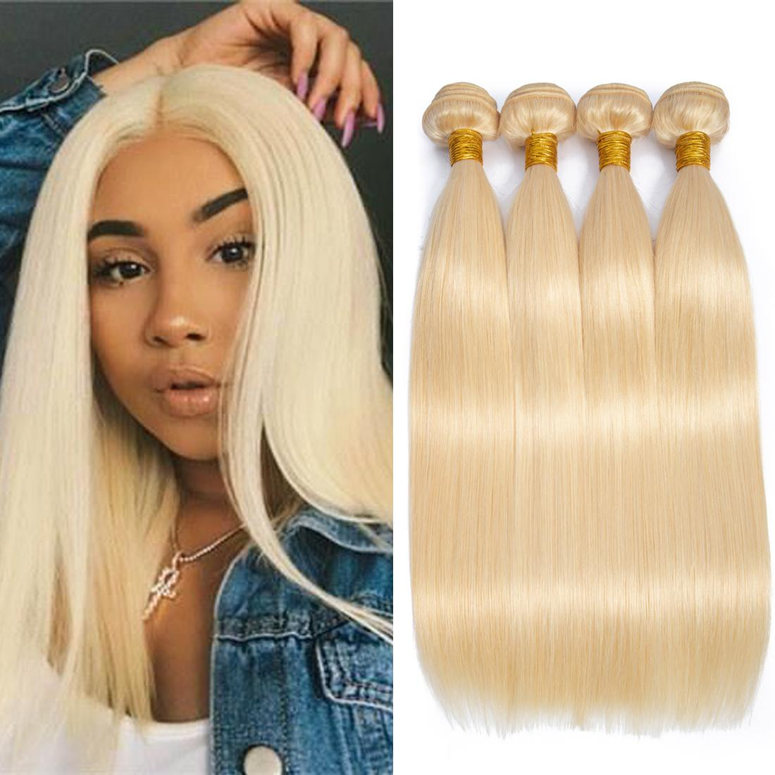 Modista 4 Unids / lote Indian Virgin Human Hair 613 Blonde Bundles Cabello Recto Bundles Blonde Extensiones de Cabello Barato Para Las Mujeres