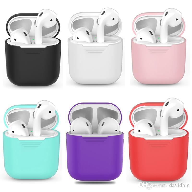 TPU Silicona Bluetooth Auricular inalámbrico Funda para AirPods Cubierta protectora Accesorios de piel para Apple Airpods Caja de carga