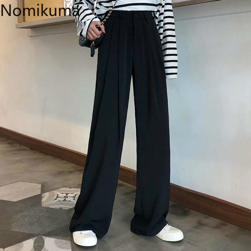 Nomikuma 2020 Costume Printemps Automne Nouveau Pantalon noir Couleur unie taille haute Pantalon droit en vrac Mode Pantalones 3a337
