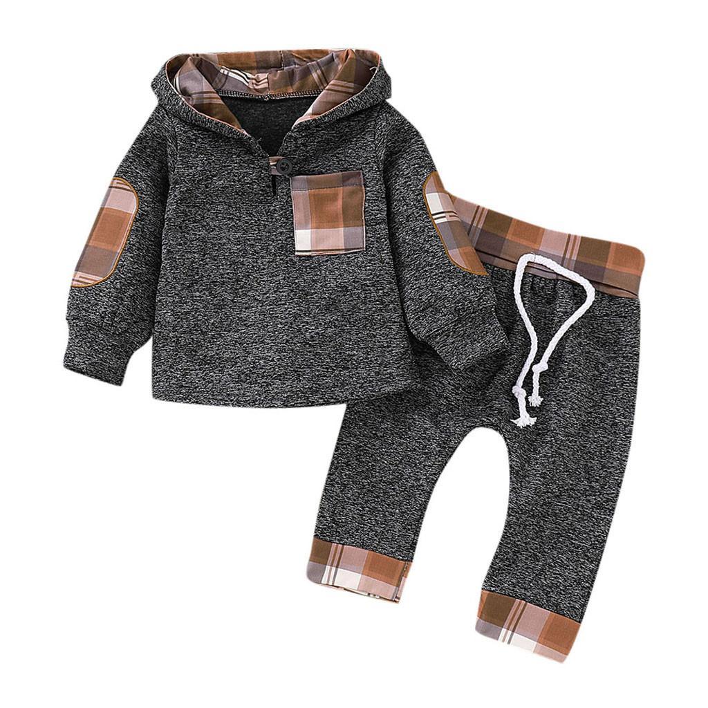 새로운 아이들의 옷 아기 긴 소매 격자 무늬가 까마귀 유아 유아 아기 소년 소녀 격자 무늬 두건이있는 풀오버 탑스 바지 복장 세트