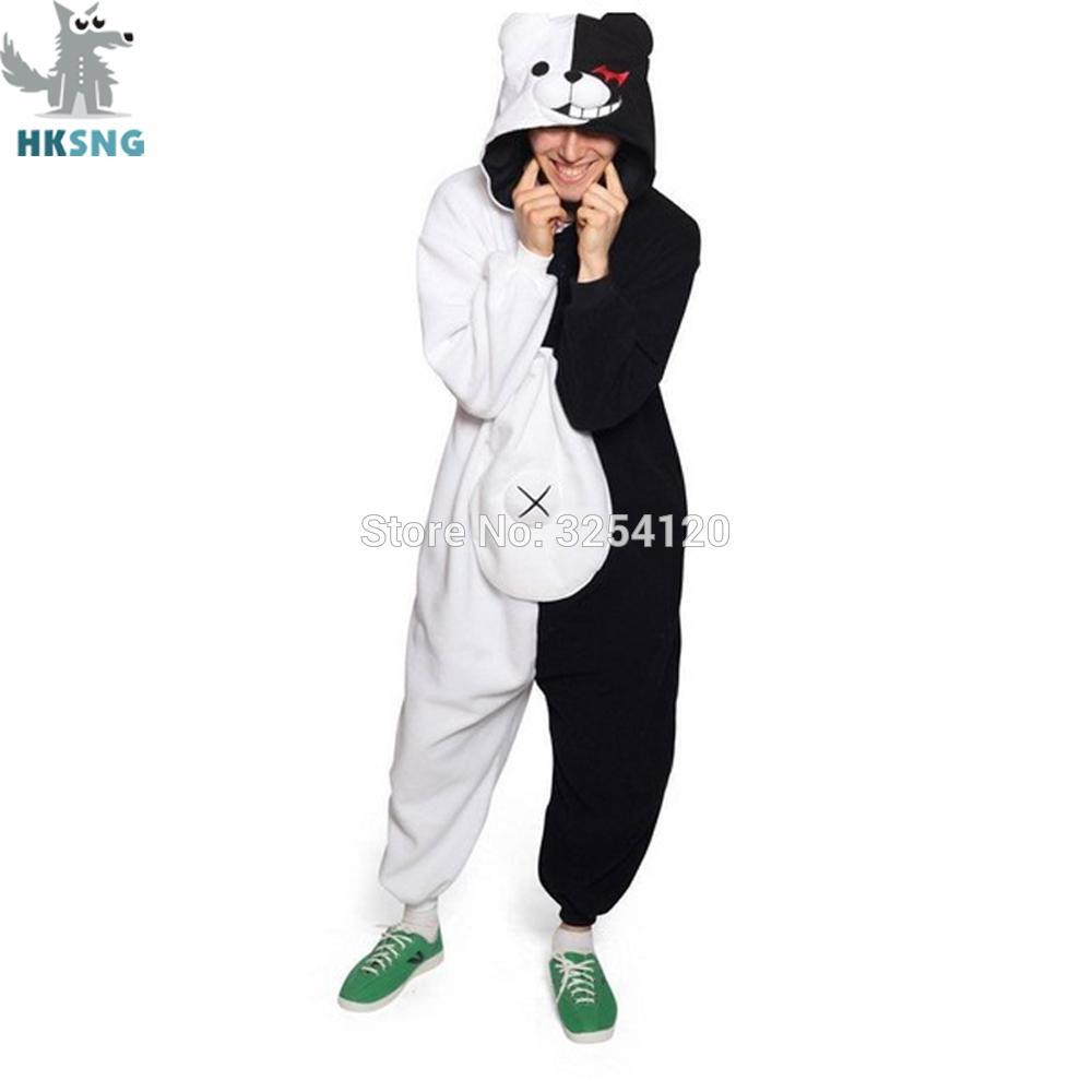 HKSNG Yetişkin Kigurumi Ayı Hayvan Pijama Danganronpa Siyah Beyaz Ayı Monokuma Onesies Cosplay Kostüm Tulumlar Noel T200110