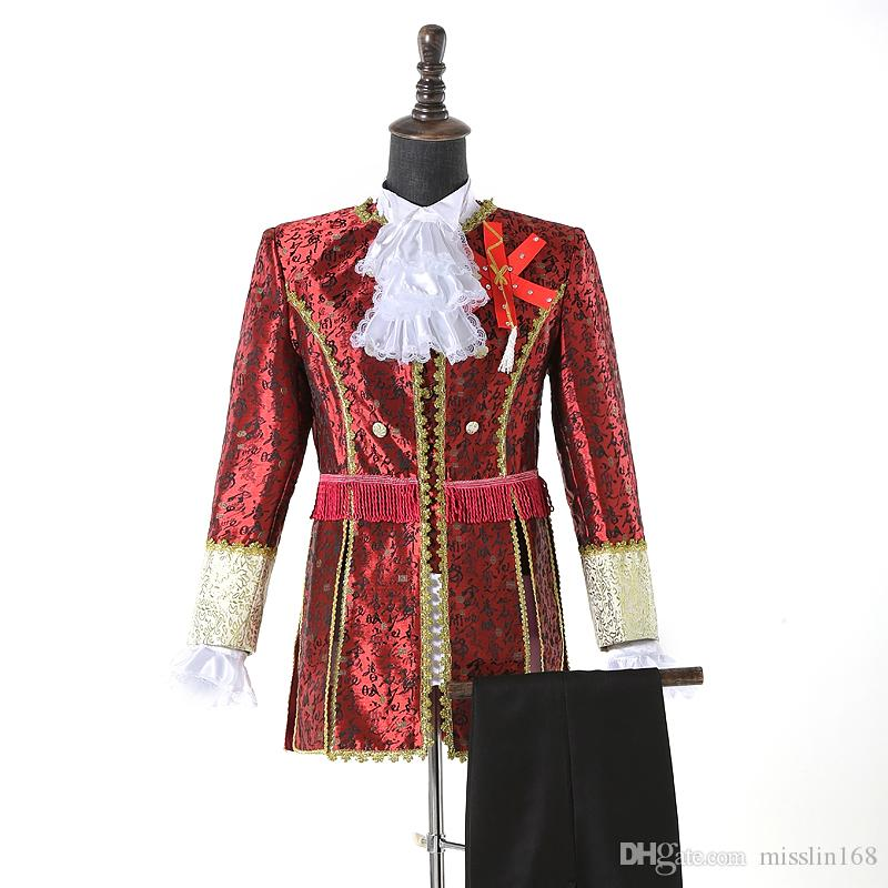 (jacket+pants) European Style Men's White Red Suits Court Dresses Blazers Stage Costume Show Retro Wedding Clothing Drama Costume