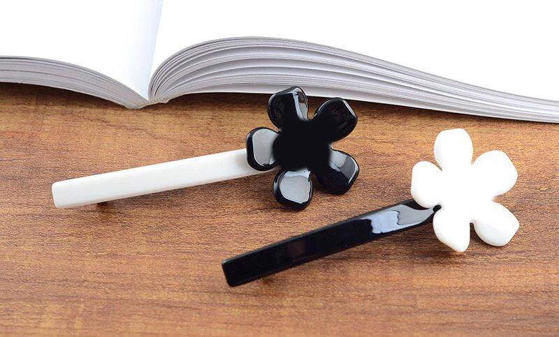 10X3.5CM C style Simple black and white acrylic flower hair clip C letter hairpin one word clip hair ornaments counter gift 8pcs/lot