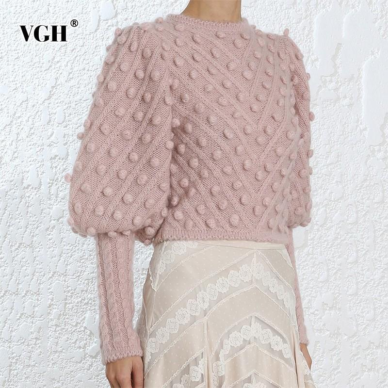 VGH Vintage Short Women Sweater Lantern Sleeve O Neck Dot Pullover Knitting Sweaters 2019 Fashion Korean New Tide