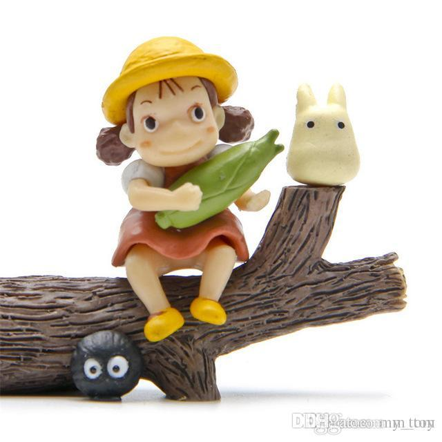 슈퍼 귀여운 내 이웃 토토로 모델 그림 장난감 안전 수지 토토로 애니메이션 스튜디오 지브리 미니 모델 아이들이 크리스마스 선물 인형도