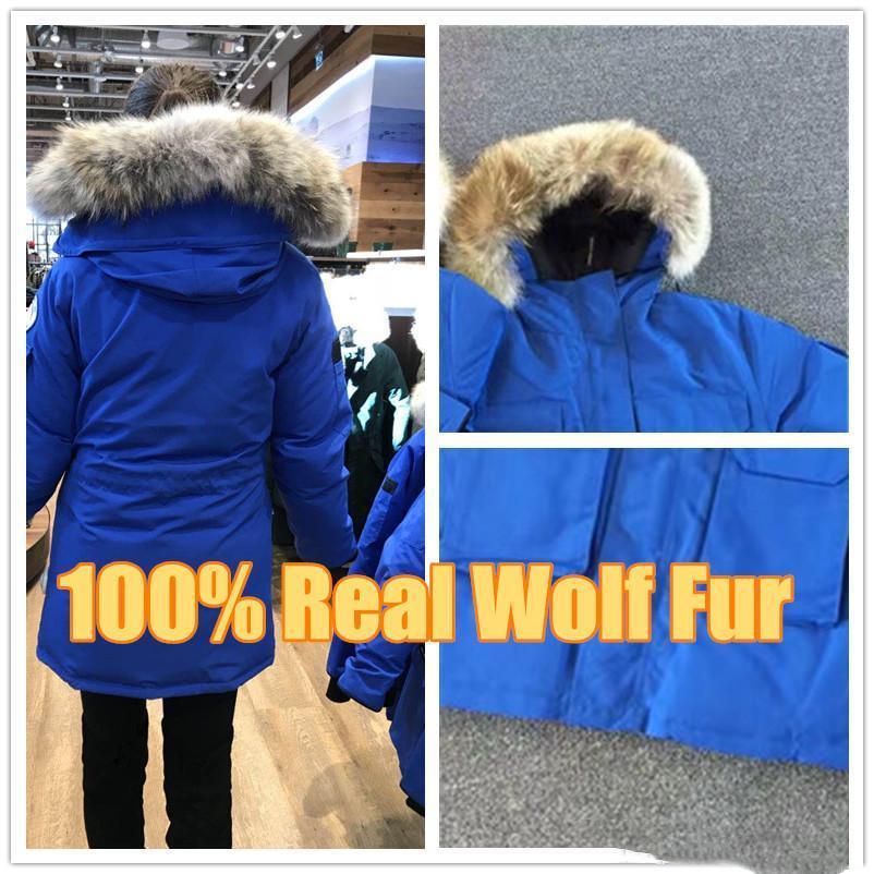 다운 재킷 코트 / 파카 최고 품질 뜨거운 판매 겨울 다운 진짜 늑대 모피 캐나다 새로운 도착 판매 남성 원정대 다운 파카 후드 티
