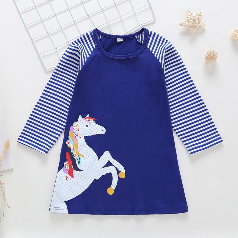 Kızlar Pamuk Uzun Kollu Elbise Bebek Kız Elbiseler Sevimli Çocuklar Pony Stripes Elbise Yeni Etek Giysileri