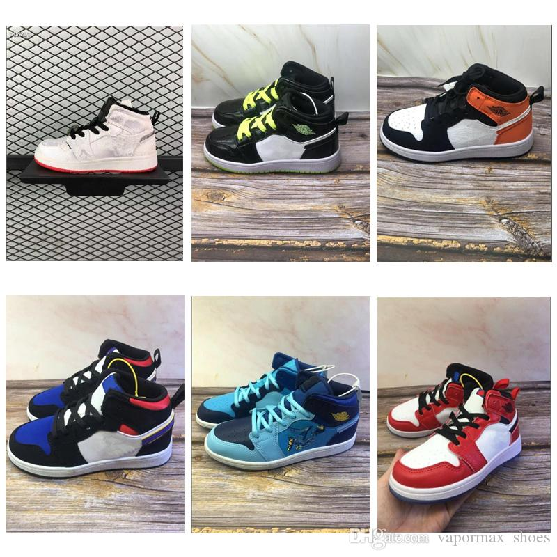 2020 High 1 1s TS 6s Youth Kids Basketball Shoes Chicago White University Blue New Born Baby Infant Toddler Trainers Boys Girls Sneakers