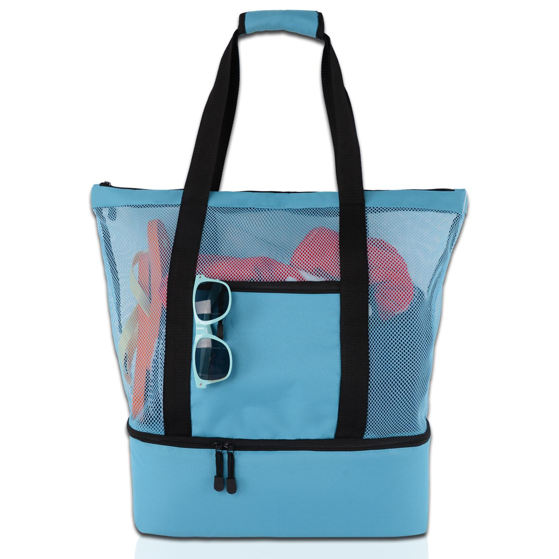 Haute capacité Femmes Mesh stockage transparent Sac à double couche conservation de la chaleur Grand pique-nique Sacs de plage Sac à main épaule