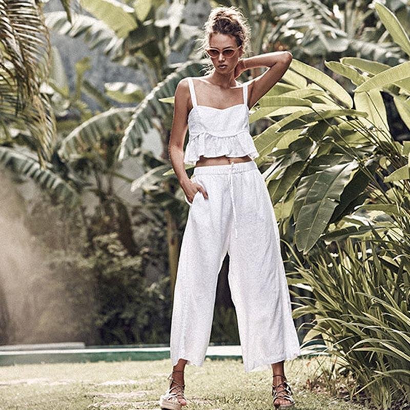 2019 Xia Ladies Sexy Solid Color Sleeveless Camisole Navel Trousers Pants Suit