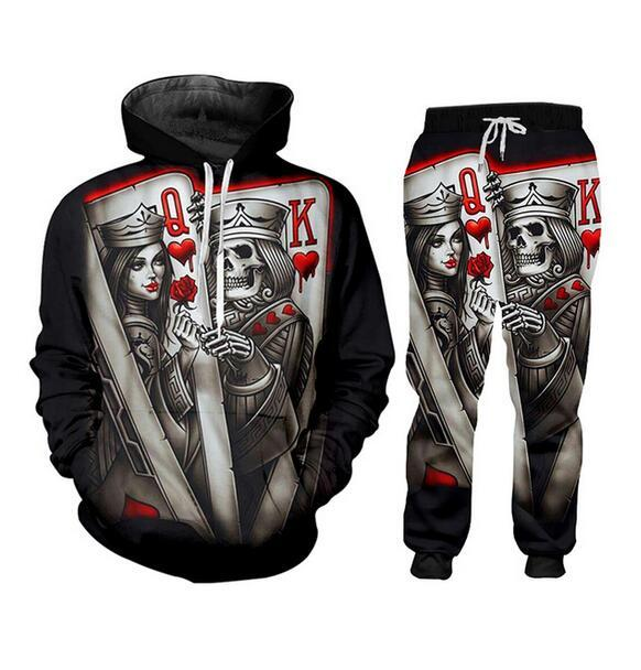 New Men / Womens Crânio de Poker 3D engraçado Imprimir Moda Fatos Crewneck Hip Hop camisola e calças 2 Pcs Set Hoodies TZ40