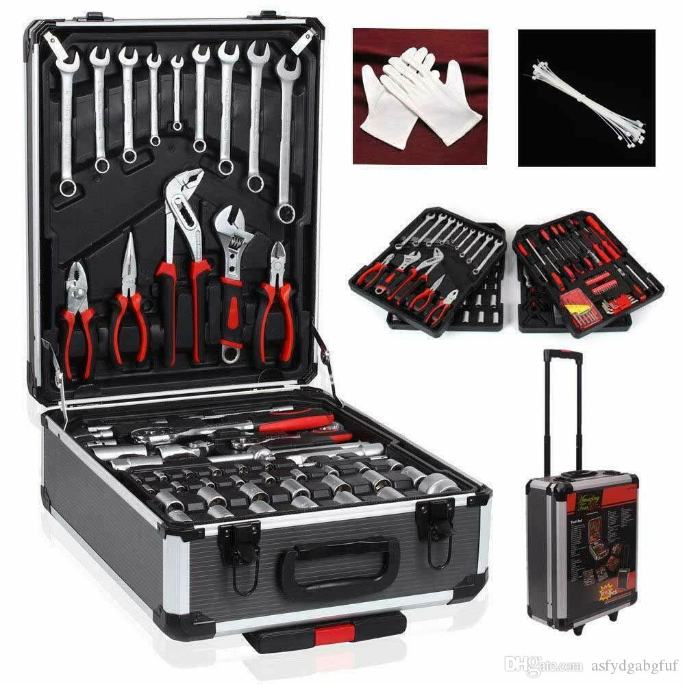 718Pcs Tool Set Case Mechanics Kit Box Organize Castors Toolbox Trolley NEW