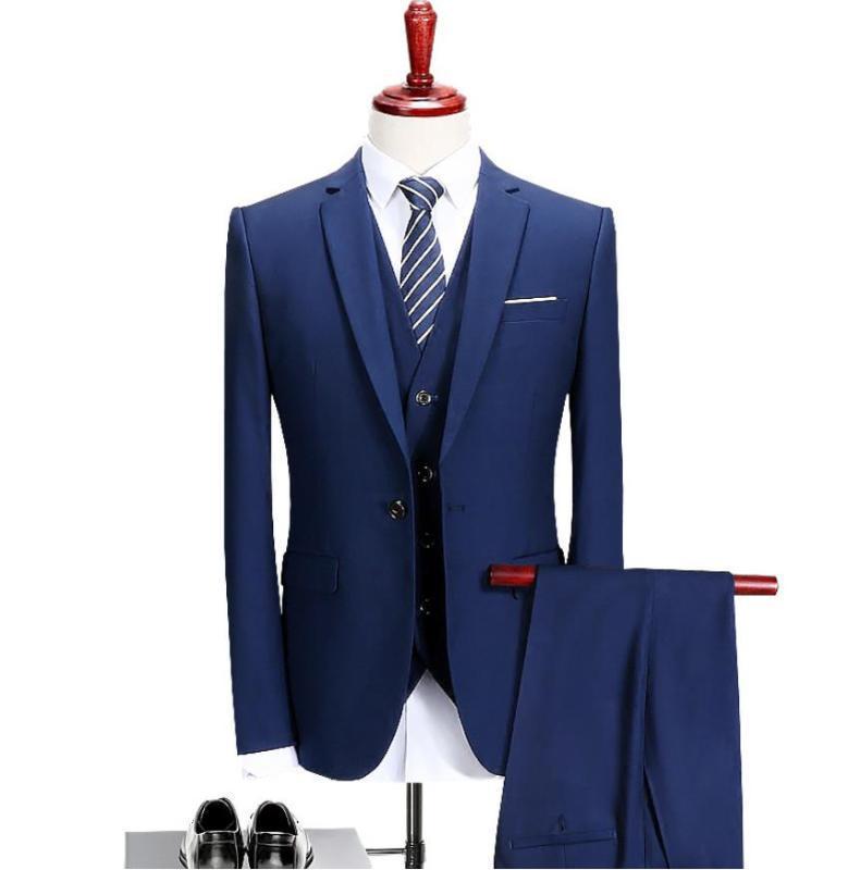 (Jacket + Vest + calça) 2019 Suit Men Blazer Moda Masculina Casual Terno do casamento personalizado Slim Fit Homens de Negócios Best Man Blazer Terno
