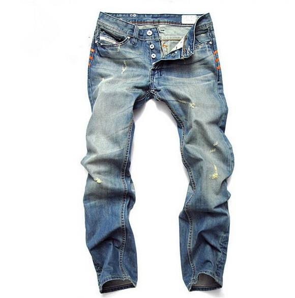 Mode Hommes Slim Jeans Hommes Pantalons simple élastique Pantalons Light Blue Loose Fit Coton denim Brand Jeans Homme