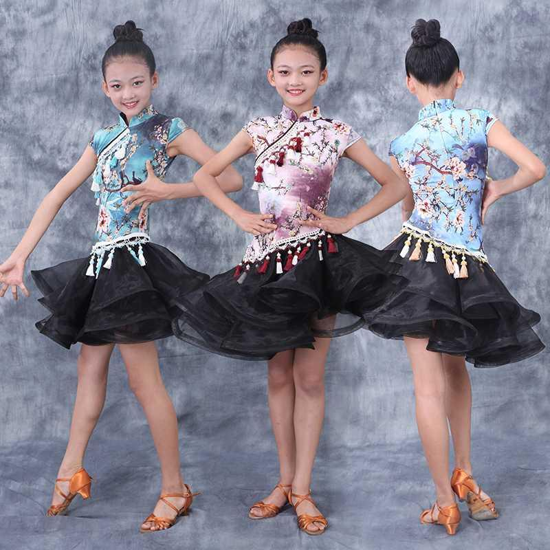 Latin Dance Dress Children Practice Clothes Chinese Style Professional Competition Dresses Samba Performance Clothes DQS3397