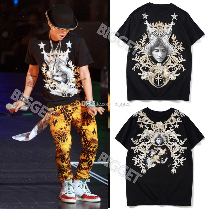Black Angel Face Print Cotton Jersey Tshirt For Man Casual Designer Top Men's Crew New Fashion Tee