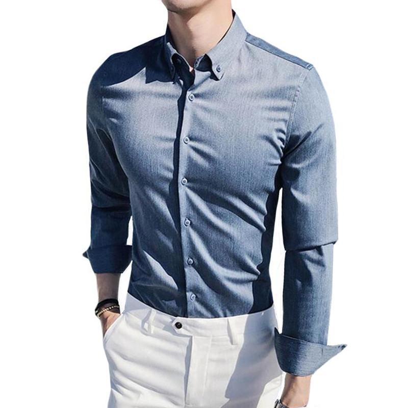 Acheter 2019 Nouveau Style Mode Homme Printemps Tissus De Qualité  Supérieure Chemise Business / Hommes, Confortable, Coupe Slim, Robe À  Manches