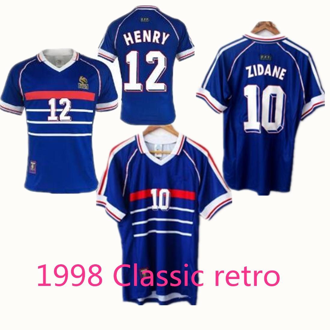 camicia di calcio tuta 1998 Francese shirt retrò Zidane calcio Henry Merlot Forte alta qualità della camicia calcio maschile uniformi per bambini S-XXL
