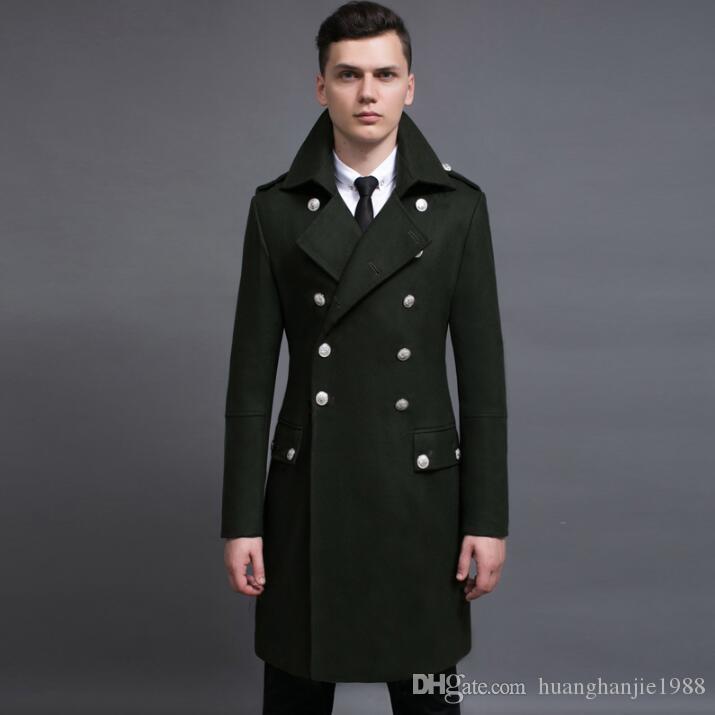 2019 New Winter plus size jackets Mens Black Double-breasted Wool Coat Men Lapel Wool Blend Coats Oversize male Long Windbreaker Outwear