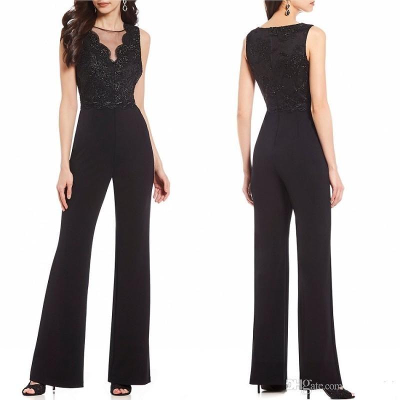Gelin Elbise Mücevher Boyun Boncuk Düğün Damat Pant Suits Custom Made Örgün Abiye Giyim Of 2020 Siyah Tulumlar Anne