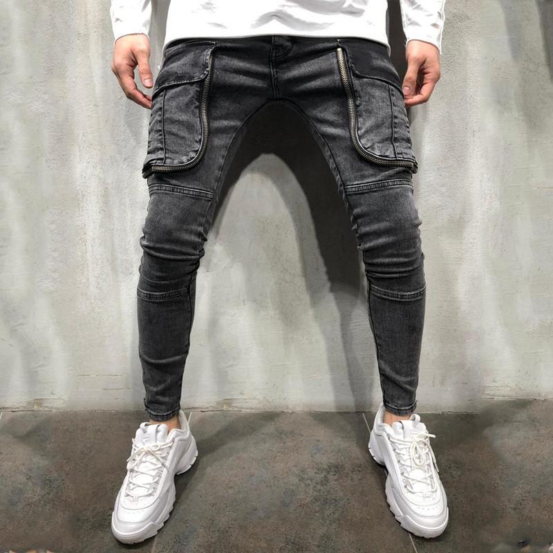 Buraco Painéis Mens Designer Jeans Moda grandes bolsos Painéis Zipper Mens Fly Designer Jeans Casual machos roupa