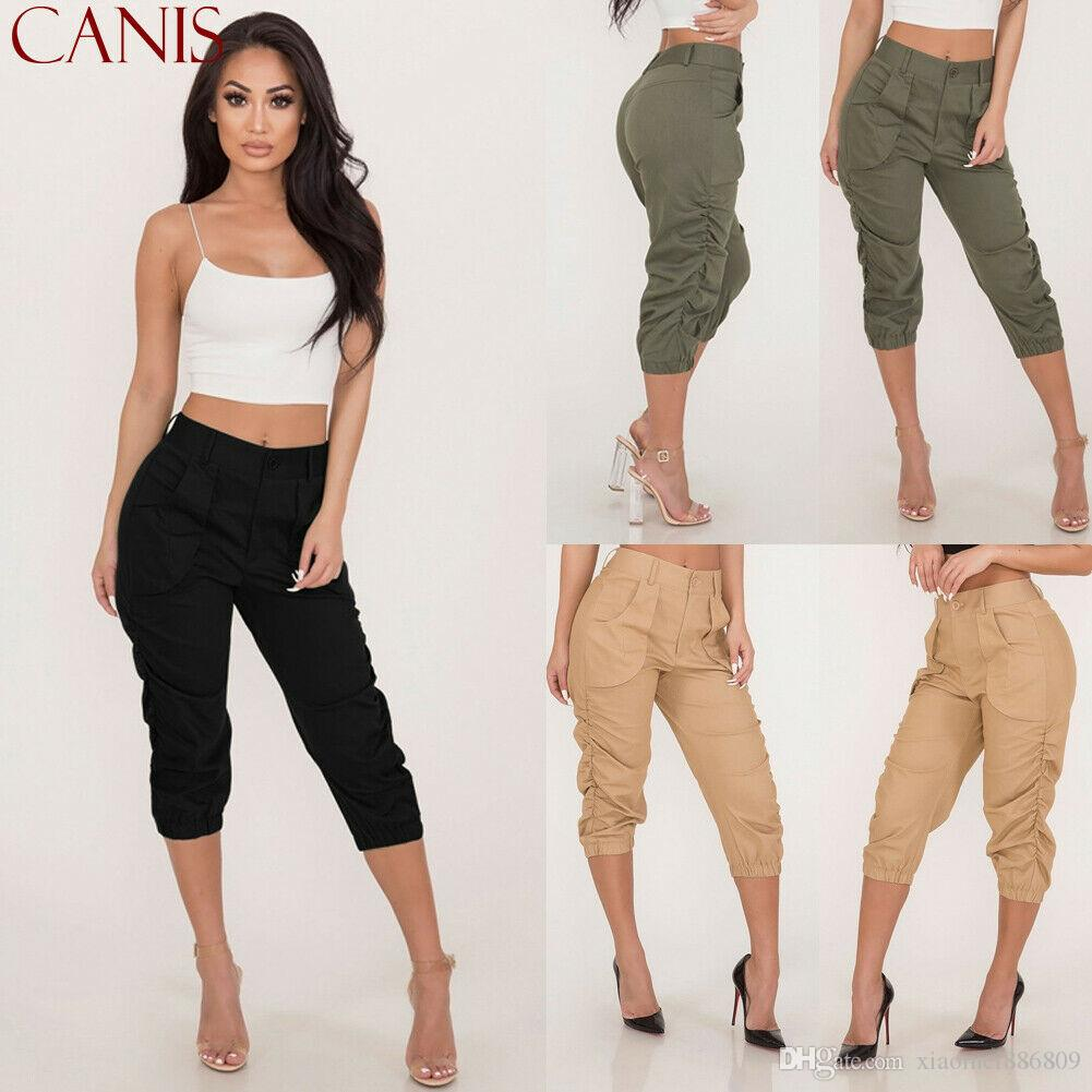 Compre Pantalones 3 4 Para Mujer Pantalon Corto Capri Con Cintura Elastica De Tres Cuartos Para Mujer A 6 72 Del Xiaomei886809 Dhgate Com