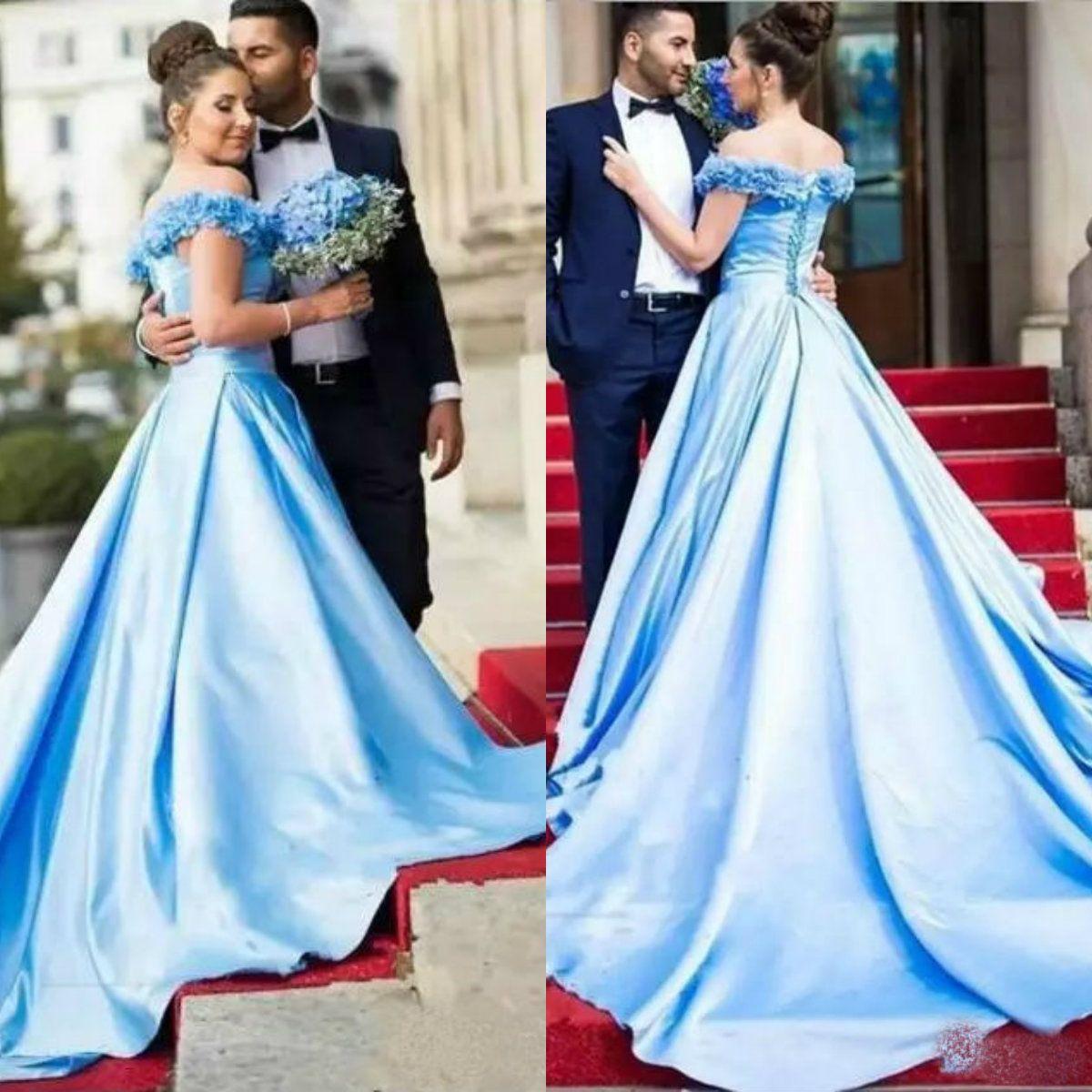 라이트 스카이 블루 댄스 파티 드레스 맞춤 의류 오프 숄더 복장 야회복 훈련 용 레이스 업 백리스 롱 파티 드레스