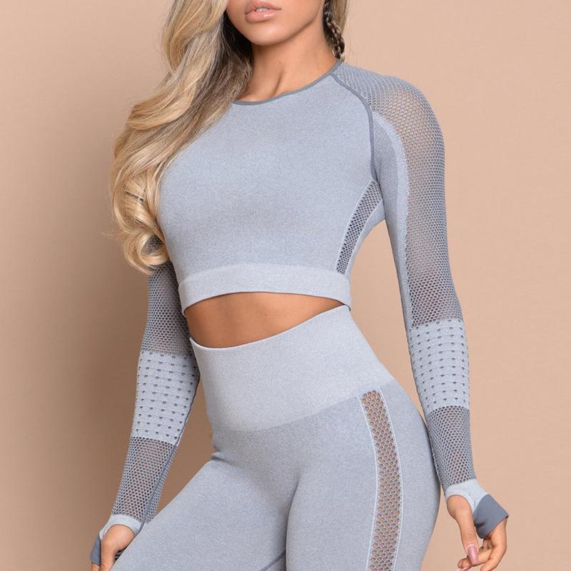 2 ADET Üst ve Pantolon Eşofman Spor Spor Seti Dikişsiz Yoga Takım Elbise Kadın Örgü Egzersiz Giysileri Spor Kadınlar Için Nefes Sportwear
