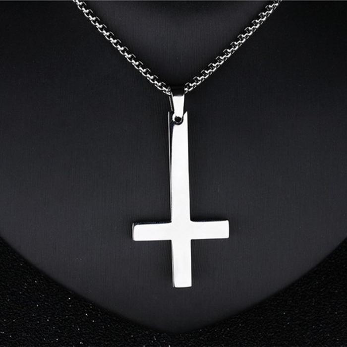 Hommes Inverted Pendentif croix Collier chaîne en acier inoxydable lien Colliers Bijoux
