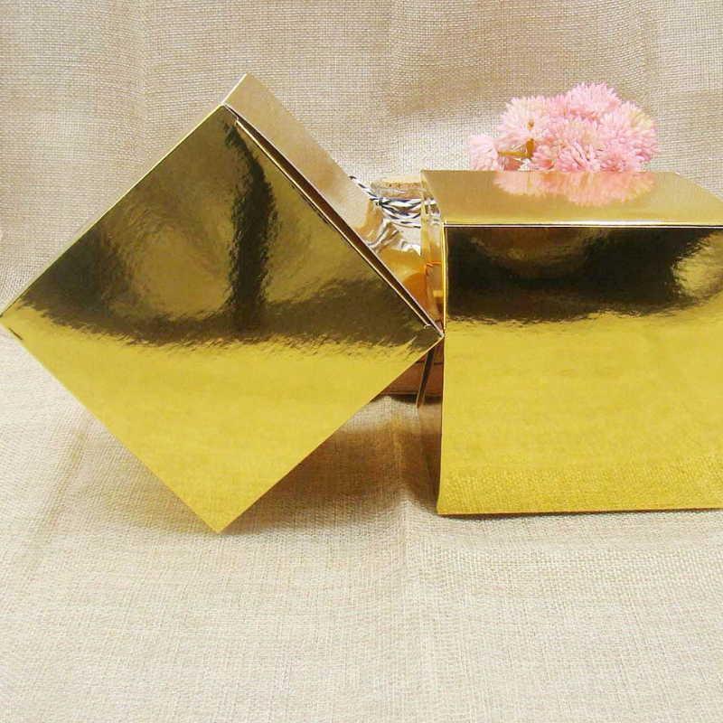 20pcs / lot 10 * 10 * 10cm Altın / Beyaz Kraft Kağıt kek kutusu Kare Hediye Kutuları Paketi düğün kutusu Parti Şeker kutuları Yana