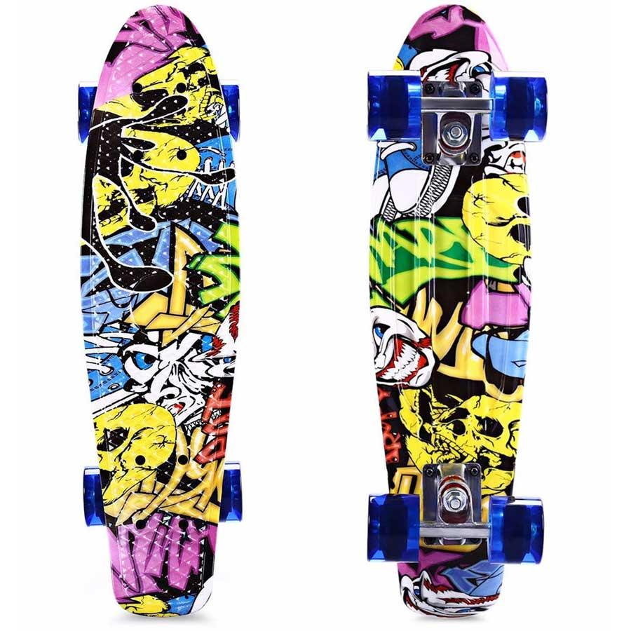 Freestyle Impressão Rua 22 Polegada Skate Longo Completa Retro Graffiti Estilo Skate Cruiser Long Board Skates