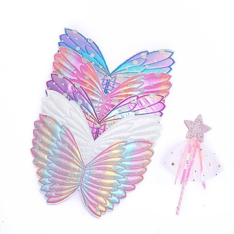 Sevimli Kız Kostüm Performans Dikmeler Gradient Renk Kelebek Prenses Angel Wings Peri Çubuk Çocuk Giydirme Oyuncak Aksesuarlar Çalma