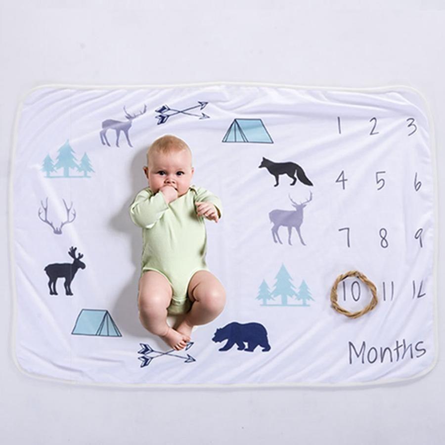 4 Estilos 76X102 cm Mantas de franela para bebés Respetuoso con el medio ambiente Impreso Foto para bebés Decoración Manta de fondo para bebés Milestone DHT744