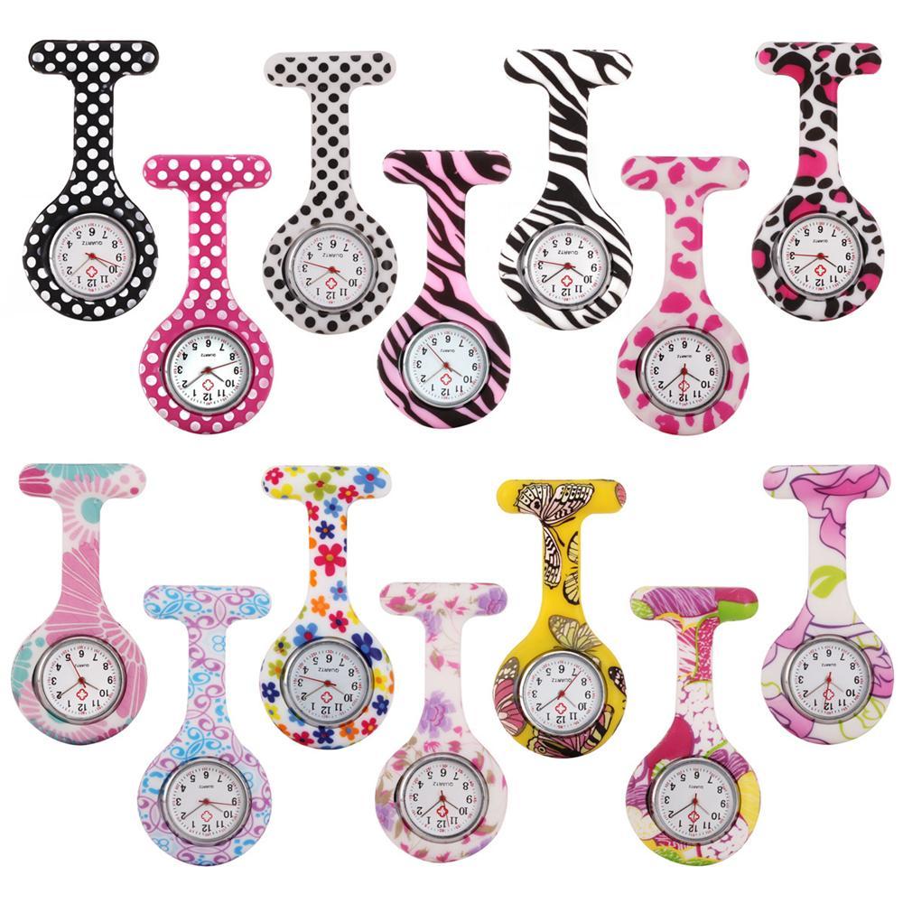Krankenschwester Tarnung Zebra-Leopard-Blume Taschenuhr Damenmode Druck Damen Doktor Pin Dame Gummi Uhren Brosche Uhr