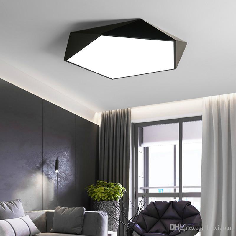 Nero / Bianco 5CM spessore lampadario illuminazione Camera da letto Studio Camera ModernCeiling Lampadario Minimalismo Led Chandelier Infissi 110 v`260v