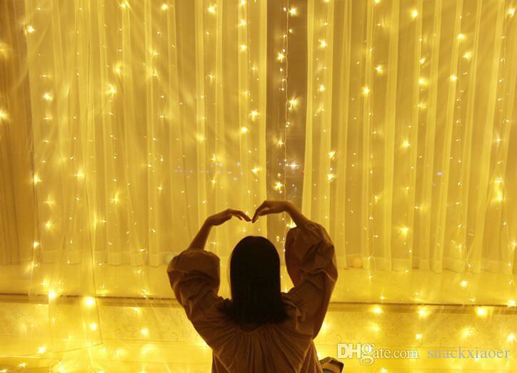 luce della tenda della stringa led fata luce di Natale ghirlanda impermeabile festa in giardino matrimonio fata luce 6x3 m all'aperto