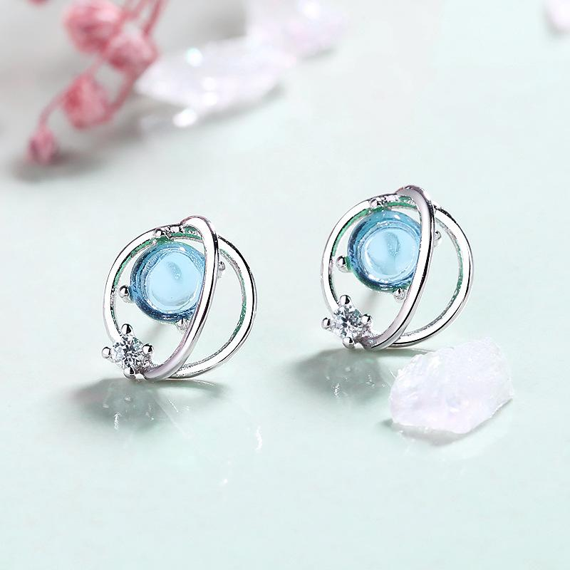With 925 pure silver imitation glass key planet girl minority fantasy blue universe Aurora Star Earrings