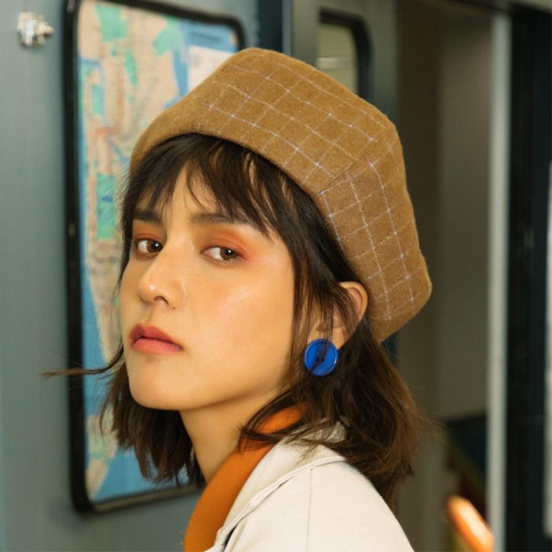 EOEODOIT Женщины Мода ретро плед Шерстяные шапки шапки 2020 Осень Зима Сладкие Симпатичные тыквы берета Octagonal Hat