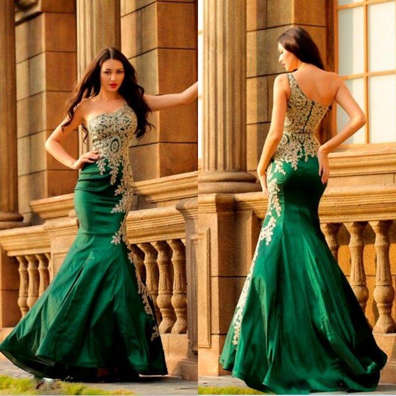 화려한 머메이드 이브닝 드레스 한 어깨 민소매 레이스 아플리케 트럼펫 그린 파티 드레스 맞춤 제작 정장 드레스